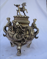 Rare old antique tibet silver carved Big Dragon phoenix and Beast incense burner /metal censer 00028