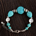 0121  Hot Charm Beads Fashion Jewelry Vintage Hollow Out Handmade Petals Tibetan Silver Turquoise Bracelet Free Shipping