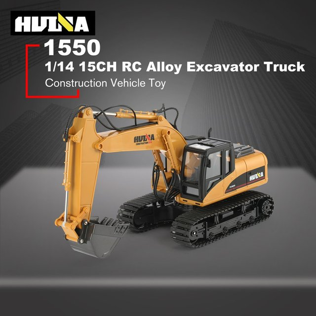 HUINA 1550 RC Excavator 680 Degree Rotation Alloy Bucket  1/14 15CH Construction Vehicle Toy Gift with Cool Sound/Light Effect H