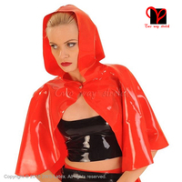 Sexy Red Latex cape with hood Short Jacket Rubber Robe Gummi coat blouse catsuit Bolero Crop Top shirt blazer plus size SY 022
