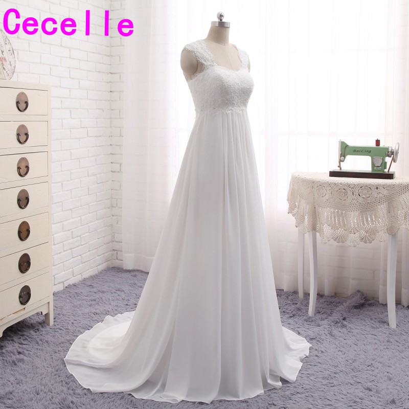 Online Shop 2017 Informal Beach Chiffon Maternity Wedding Dresses Gowns  Empire Waist Lace Bridal Gowns For Pregnant Women Custom Made   Aliexpress  Mobile