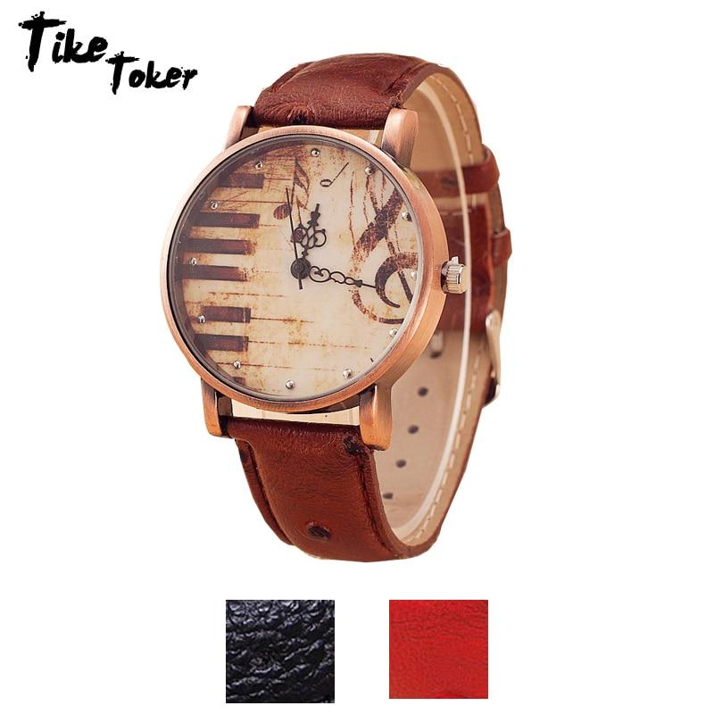 TIke Toker,Fashion Antique Retro Vintage Watches Women PU Leather Wristwatch Piano Music Note Relojes Mujer Relogio Masculino07