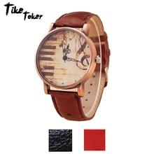 TIke Toker,Fashion Antique Retro Vintage Watches Women PU Le