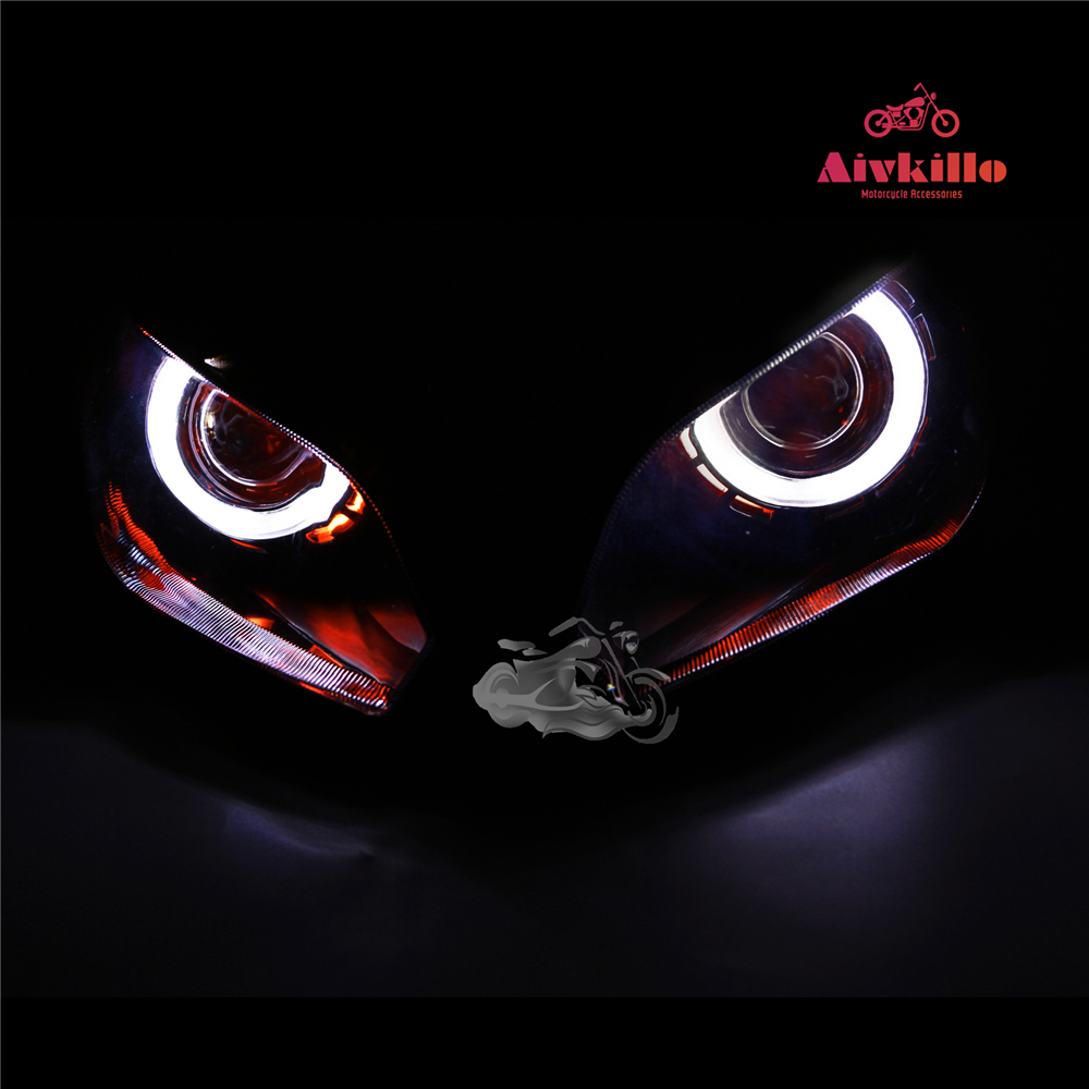 Мотоцикл запасные части фары с прятать ангельские глаза проектор фары с проектом для Kawasaki Ninja 300 2013/EX300
