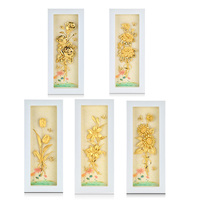 3D Flower Pictures Poster Desktop Framed Painting 24k Gold foil Painting Modern Art Wall hanging Picture Luxury Gifts Home Decor