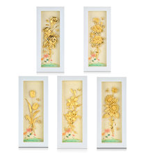 3D Flower Pictures Poster Desktop Framed Painting 24k Gold foil Painting Modern Art Wall hanging Picture Luxury Gifts Home Decor(China)