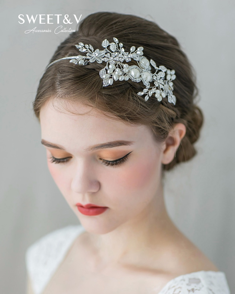 Wedding Flower Headpieces: Handmade Pearl Headband Tiara Rhinestone Bridal Hair