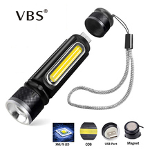 USB Charging Powerful Flashlight 1200LM T6 COB LED Flash Light Zoom Tactical Torch Lamp Magnet Camping Built-in 18650