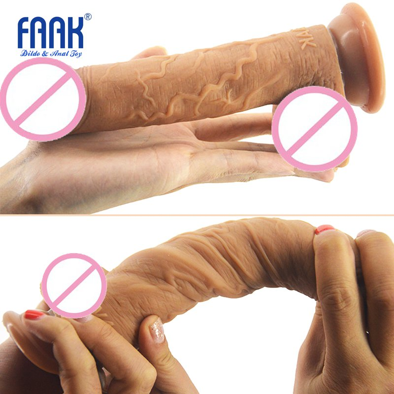 FAAK 19*3.7cm Realistic medical Silicone Dildo Flexible fake Penis Dick with Suction Cup Adult Sex Products Sex Toys for Woman auto handfree retractable piston pricky male masturbation cup for men penis massage aircraft cup passion cup adult sex products