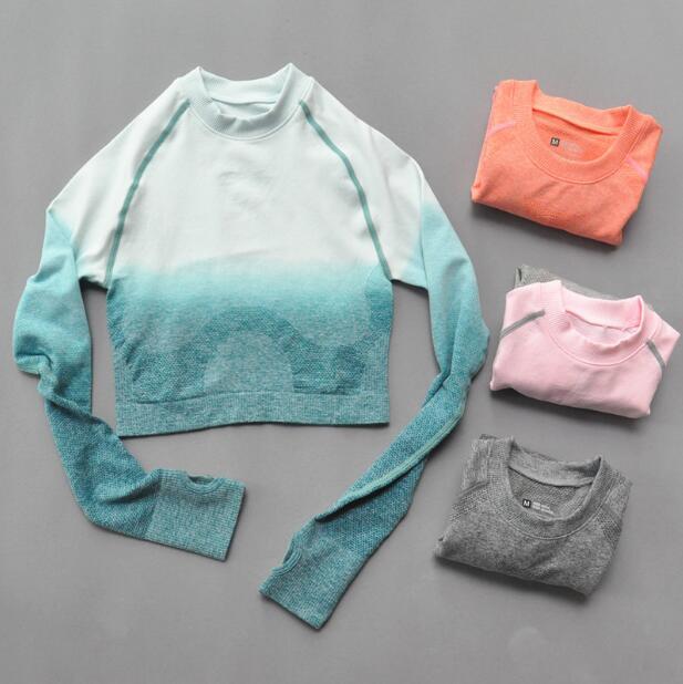 Recortado sem Costura Topo de Colheita Camisas de Treino para Mulher Feminino Ombre Manga Longa Esportes Topos Ginásio