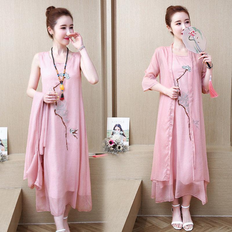 Plus Size 5XL Pink Clothes Cotton Linen Dress Midi 2 Piece Set Summer Runway dresses 2019 Chinese Style Retro Shawl Robe f897