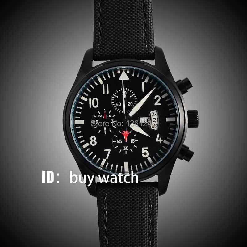 parnis black dial gun big week vintage style PVD case day date quartz Full chronograph mens watch 135 цена