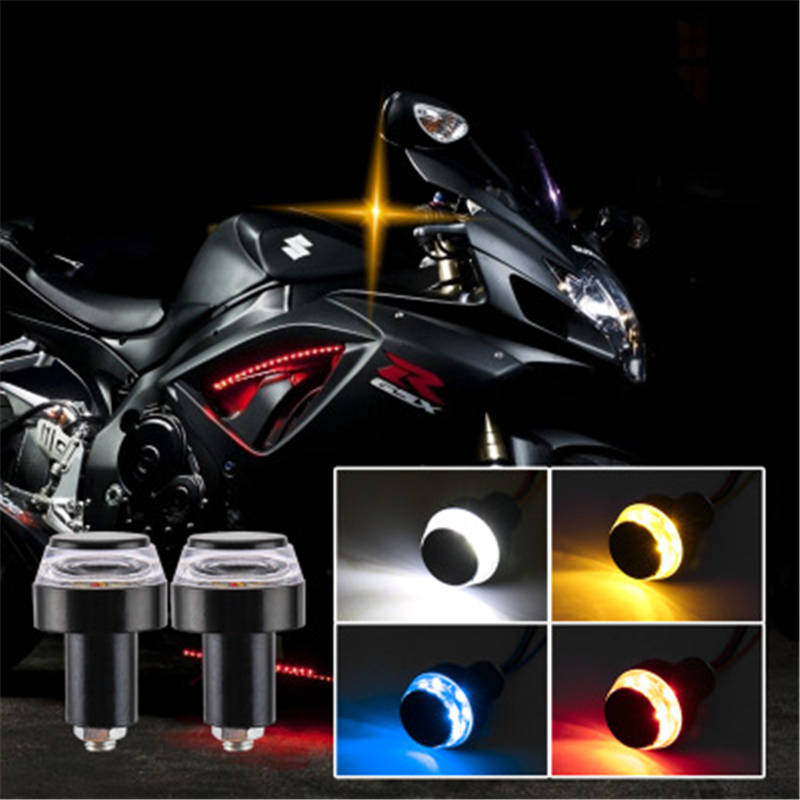 2pcs  12 LED Motorcycle Handlebar End Turn Signal Light Yellow Indicator For Moto Flasher Handle Bar Blinker Side Marker Lamp