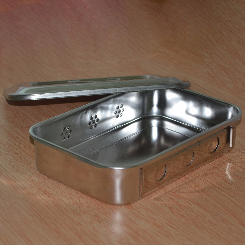 3Pcs Stainless steel box with cover plates have a medical disinfection disinfection box tray hole 9code + 1pc of medical clipper keller charles melamine appetizer plates box of 6