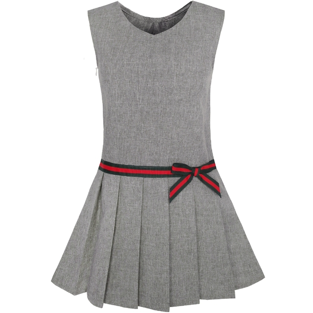 f9ba6a66386 Girls Dress Gray School Uniform Pleated Dress 2019 Summer Princess Wedding  Party Dresses Kids Clothes Pageant Sundress