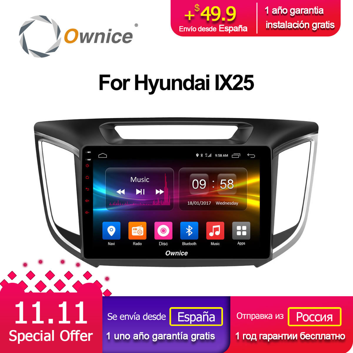 Ownice C500+ G10 10.1 Android 8.1 Octa Core Car Radio DVD GPS for Hyundai iX25 2014 2015 2016 2GB RAM 32GB ROM support 4G LTE