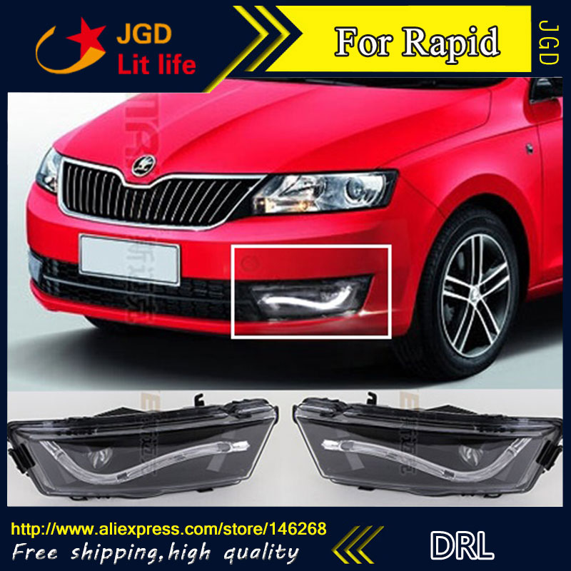 Free shipping ! 12V 6000k LED DRL Daytime running light for Skoda Rapid 2013 2014 fog lamp frame Fog light Car styling