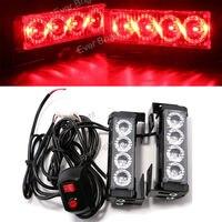 CYAN SOIL BAY 2x Red 4 LED Car Flash Emergency Hazard Warning Light Bar Police Beacon