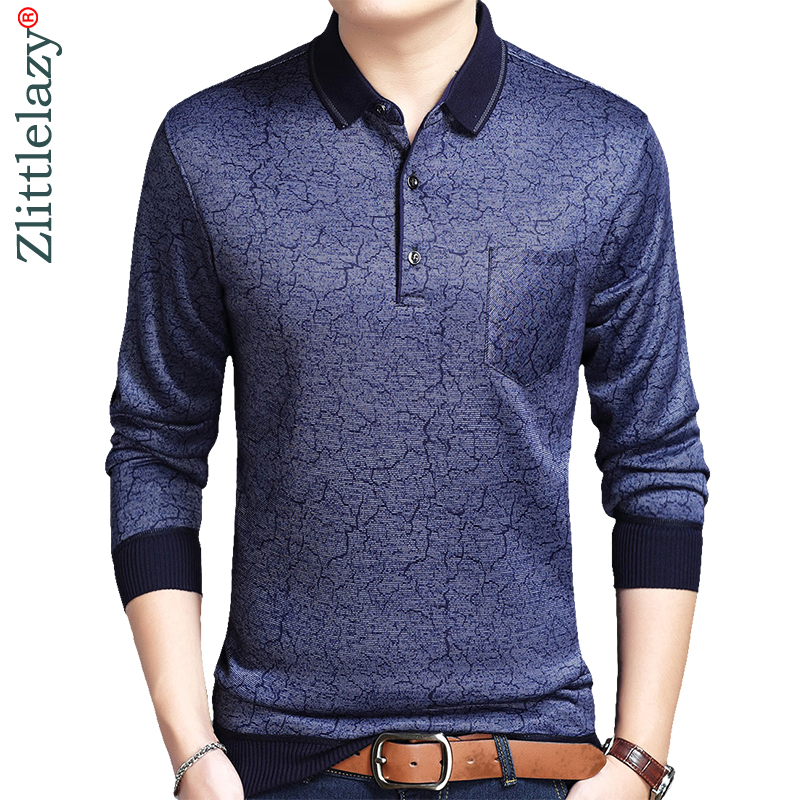 2019 designer pocket brand long sleeve slim fit   polo   shirt men casual jersey thick crack mens   polos   winter warm tee shirt 41299