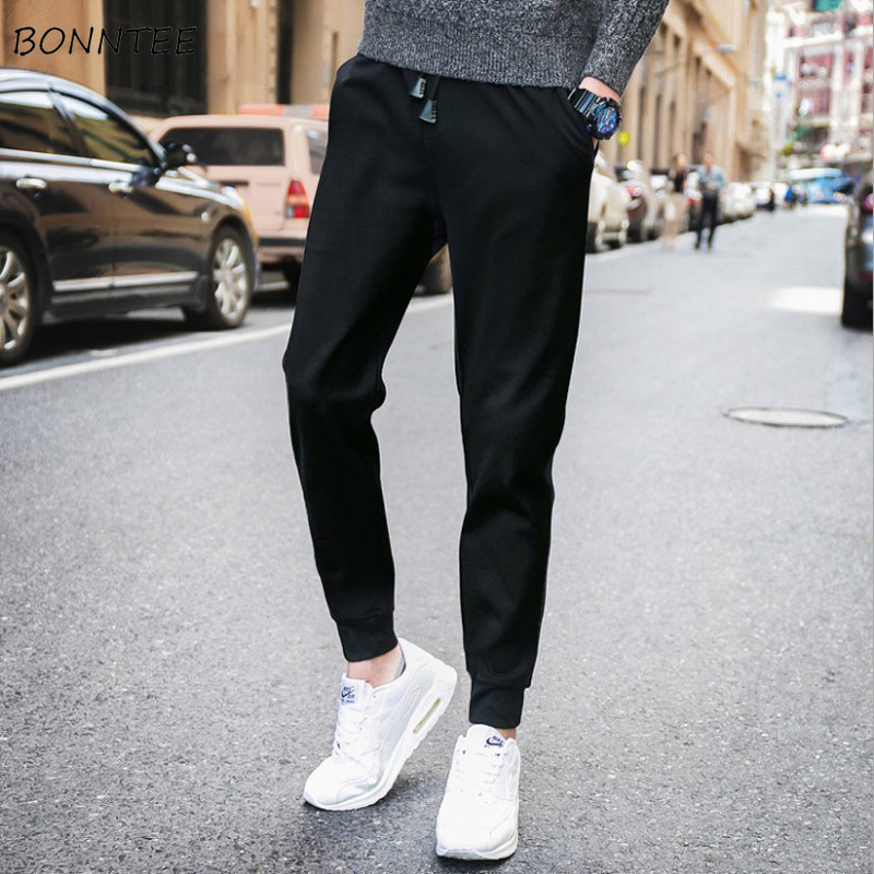 Pants Men Drawstring-Pockets Korean-Style High-Quality All-Match Ulzzang Chic Ankle-Length