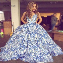 CRYSTAL JIANG 2018 Sexy Blue Strapless Floral Printed Custom made Ball Gown Sweep Train Sleevesless Elegant Evening Gowns
