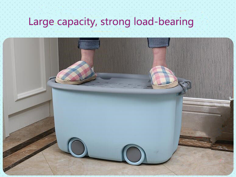 2018 Large capacity strong load bearing plastic storage containers Toy clothes bin Cartoon moving boxes with cover with wheels