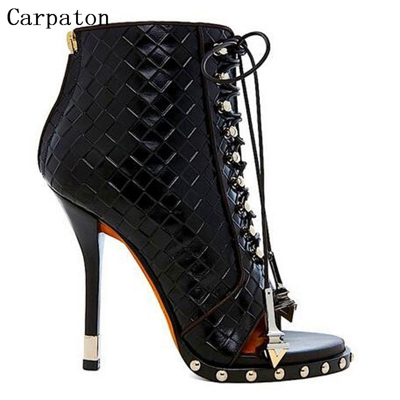 Women Newest Black White Embossed Leather Open Toe Rivet Ankle Sandal Boots Studded Lace-Up Gladiator High Heels Sandal Boots  light khaki boots for women rivet peep toe platform boots studded suede women stiletto heel open toe sandal boot womens leather