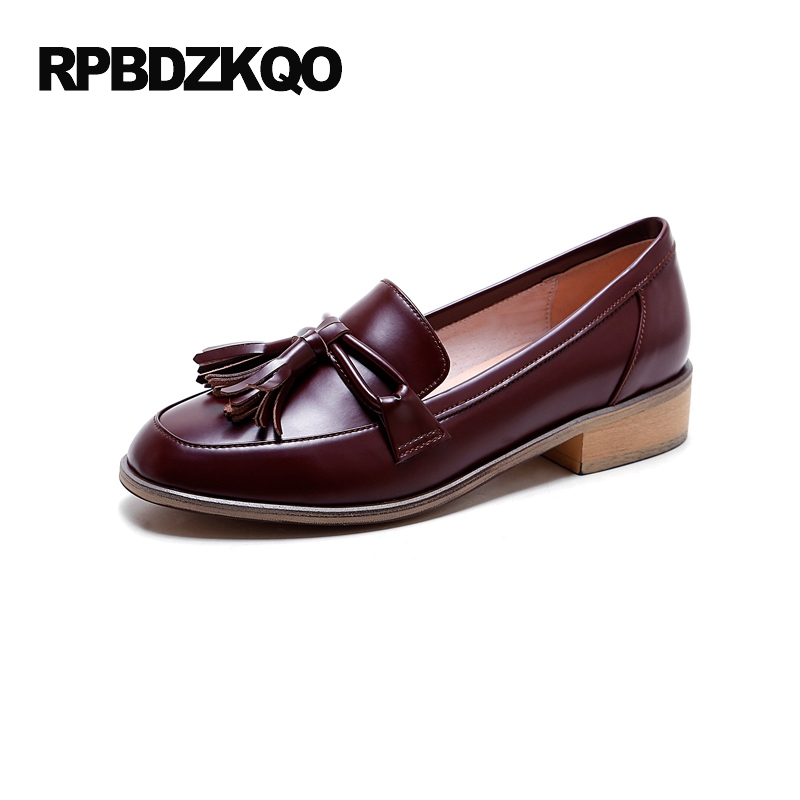 Flats Vintage Tassel British Style Ladies Beautiful Shoes Red Wine Genuine Leather Bow Chic Slip On 2017 Loafers European Drop