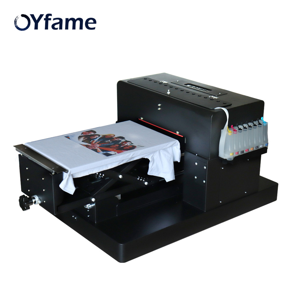 OYfame A3 Flatbed Clothes <font><b>Printer</b></font> A3 Size <font><b>DTG</b></font> Printing Machine Flatbed <font><b>Printer</b></font> <font><b>for</b></font> Dark Light <font><b>TShirt</b></font> Color With DX5 Printhead image