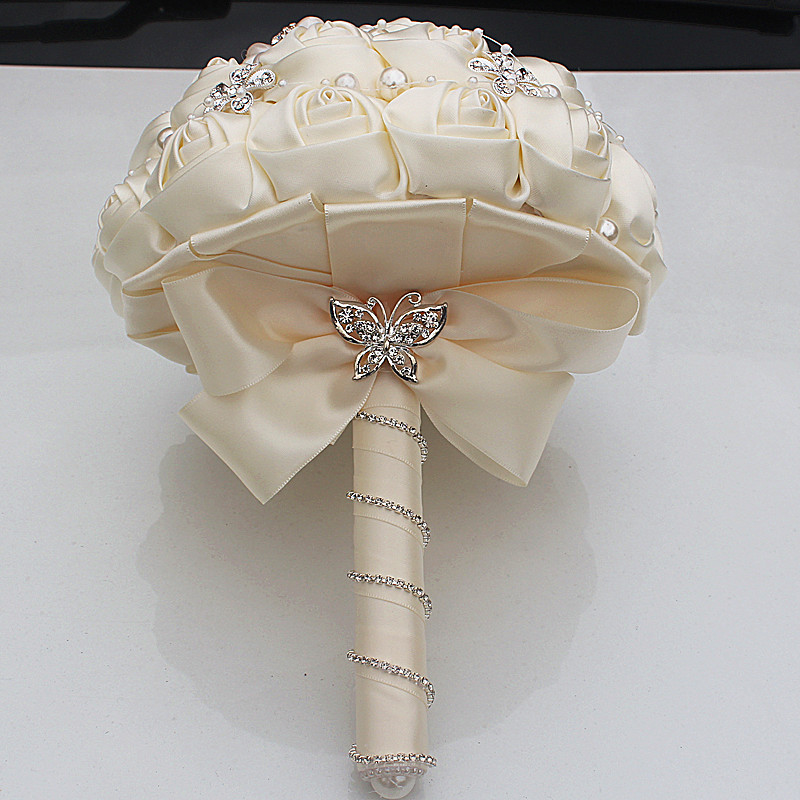 Gorgeous Crystal Ivory Wedding Bouquet Brooch Bowknot Wedding Decoration Artifical Flowers Bridal Bouquets Wedding W252 17 in Artificial Dried Flowers from Home Garden