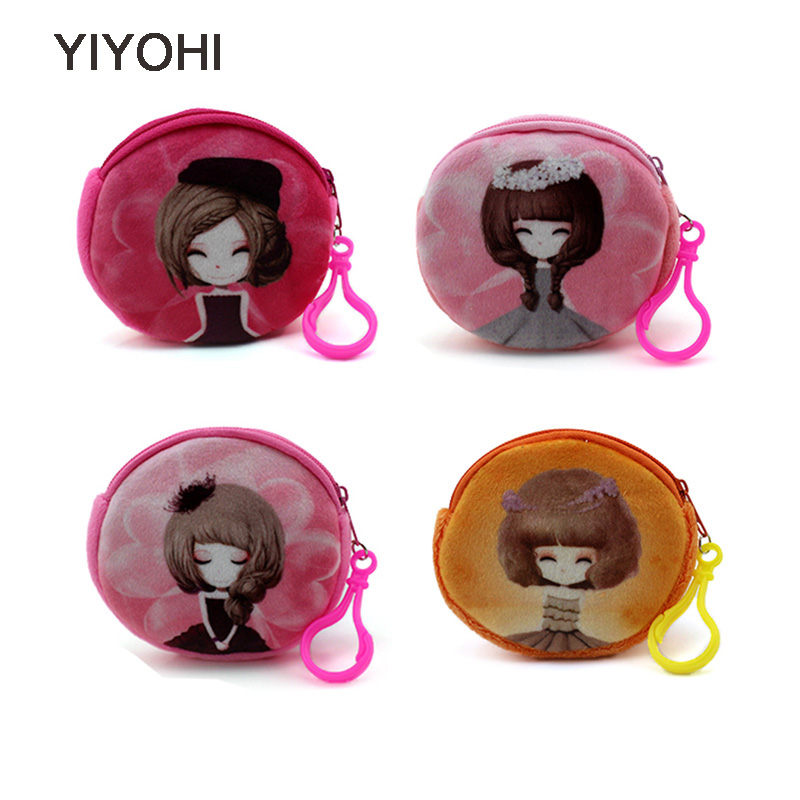 YIYOHI Kawaii Cartoon Beautiful Gril 3D Print Children Plush Coin Purse Zip Change Purse Wallet Kids Girl Women Mini Bag Gift cute butterfly student coin purse chinese style children canvas zip change mini purse women wallet animal key card bag kids gift