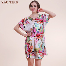 New Summer Women Night Dress Robe Bathrobe Sets Longue Femme Silk Satin Nightgown Nightwear Fashion Nightdress Night Gown 7701-7