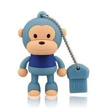 J-boxing Blue 64GB USB Flash Drive Funny Monkey Design Pendrive Memory Stick Women 16GB 32GB Thumb for Computer Mac Tablet