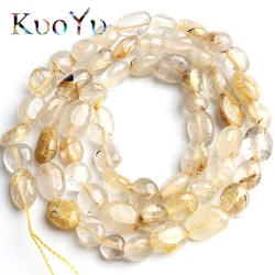 6-8mm Natural Irregular Gold Rutilated Quartz Beads Smooth Loose Spacer Beads For Jewelry Making DIY Bracelet Necklace 15