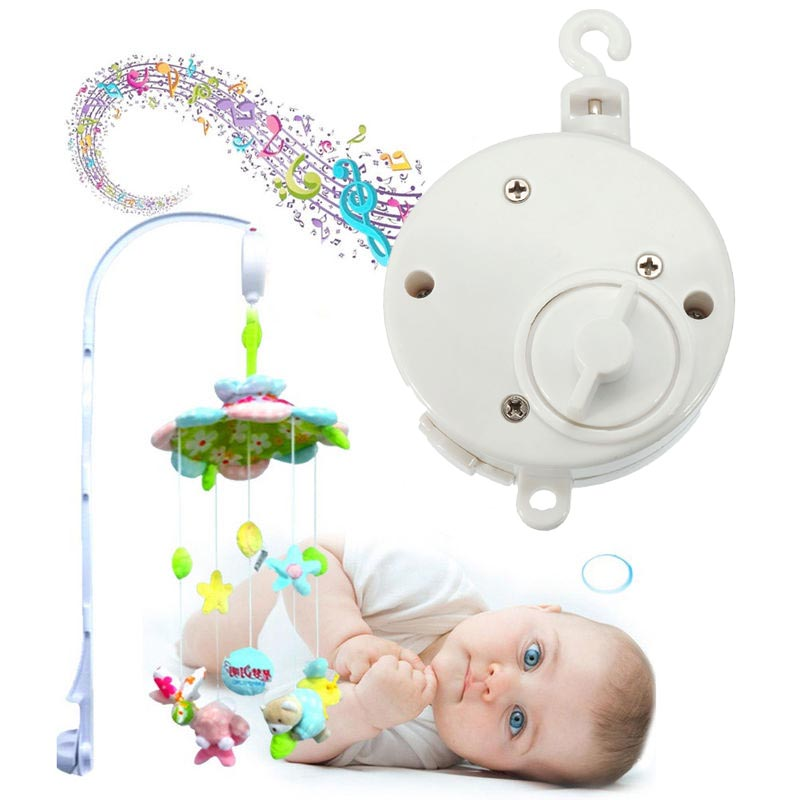 Hot Sale Universal Lovely Baby Rattles Mobile Crib Bed Bell Kid Toy Windup Movement Music Box Develop Toy White 11.5 X 4cm