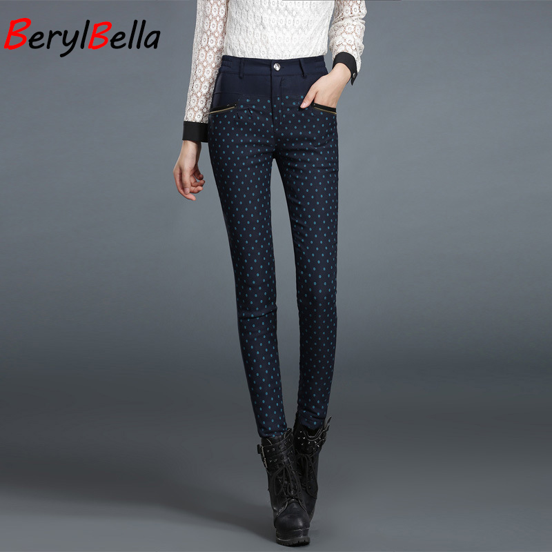 BerylBella Dot Womens Pants 2018 Winter Casual Slim Outwear Warm Duck Down Pencil Pants For Female High Waist Skinny Trousers