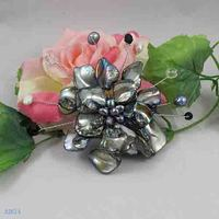 Unique Pearls jewellery Store,Handmade Natural Freshwate Pearl Real Shell Crystal Beads Brooch,Flower Brooches