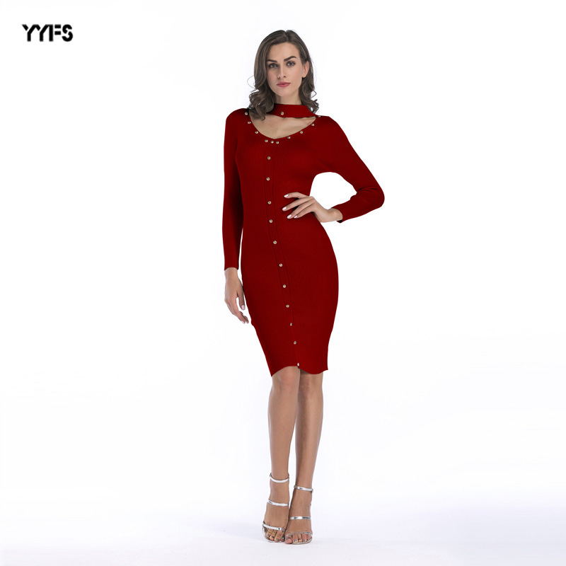 2017 Newest Fashion autumn winter women sweater dress sexy warm Knitted Midi Dress Long Sleeve Package Hip Dress party dresses mulinsen newest 2017 autumn winter men