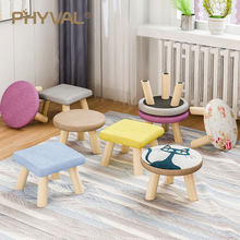 Modern Luxury Upholstered Footstool Nordic Round Pouffe Stool Wooden Leg Pattern Round Fabric 4 Legs(China)
