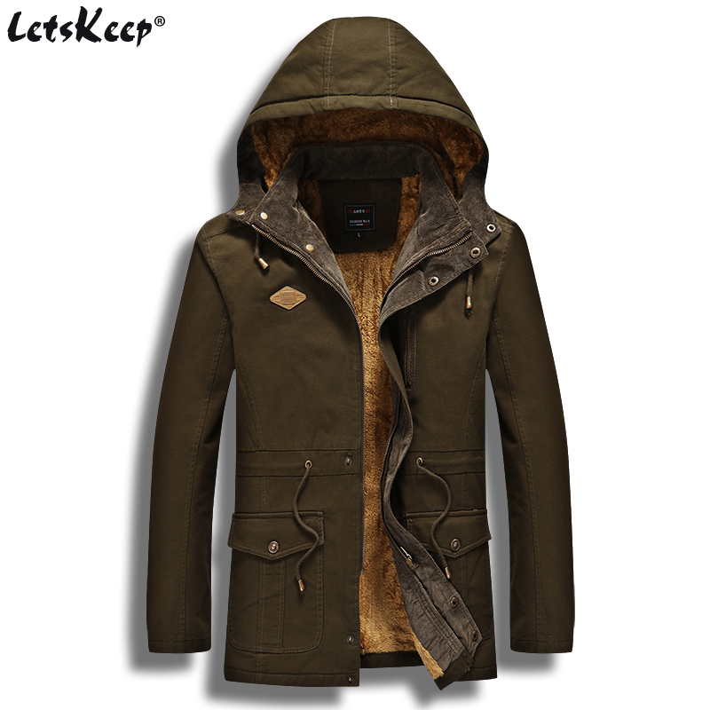 2017 LetsKeep Mens Winter Jacket for Men Fleece Inside Hooded Parka Jackets and Coats Men Military Park Bomber M - 3XL 4XL MA426