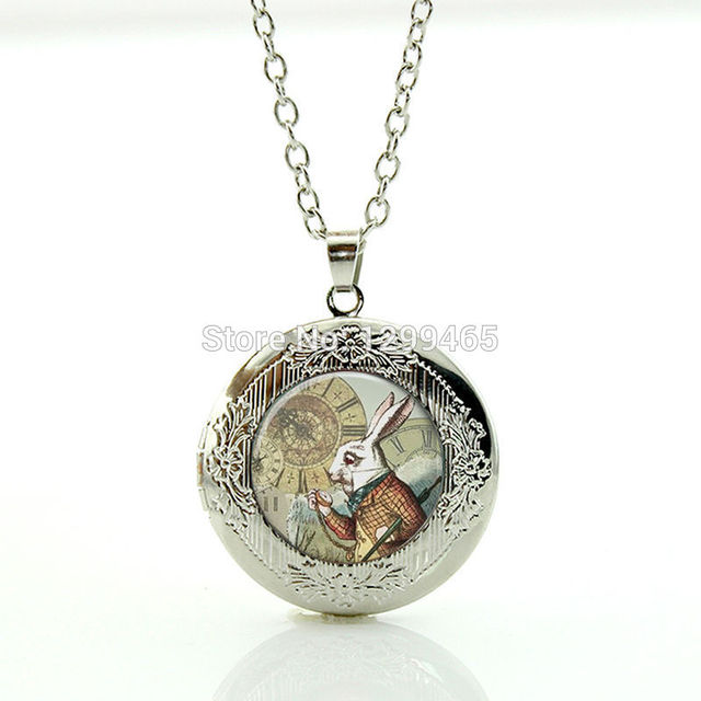 Alice In Wonderland Necklace Glass gem White Rabbit Locket pendant for boys  girls Wearable with silver ddc62b23d4a2