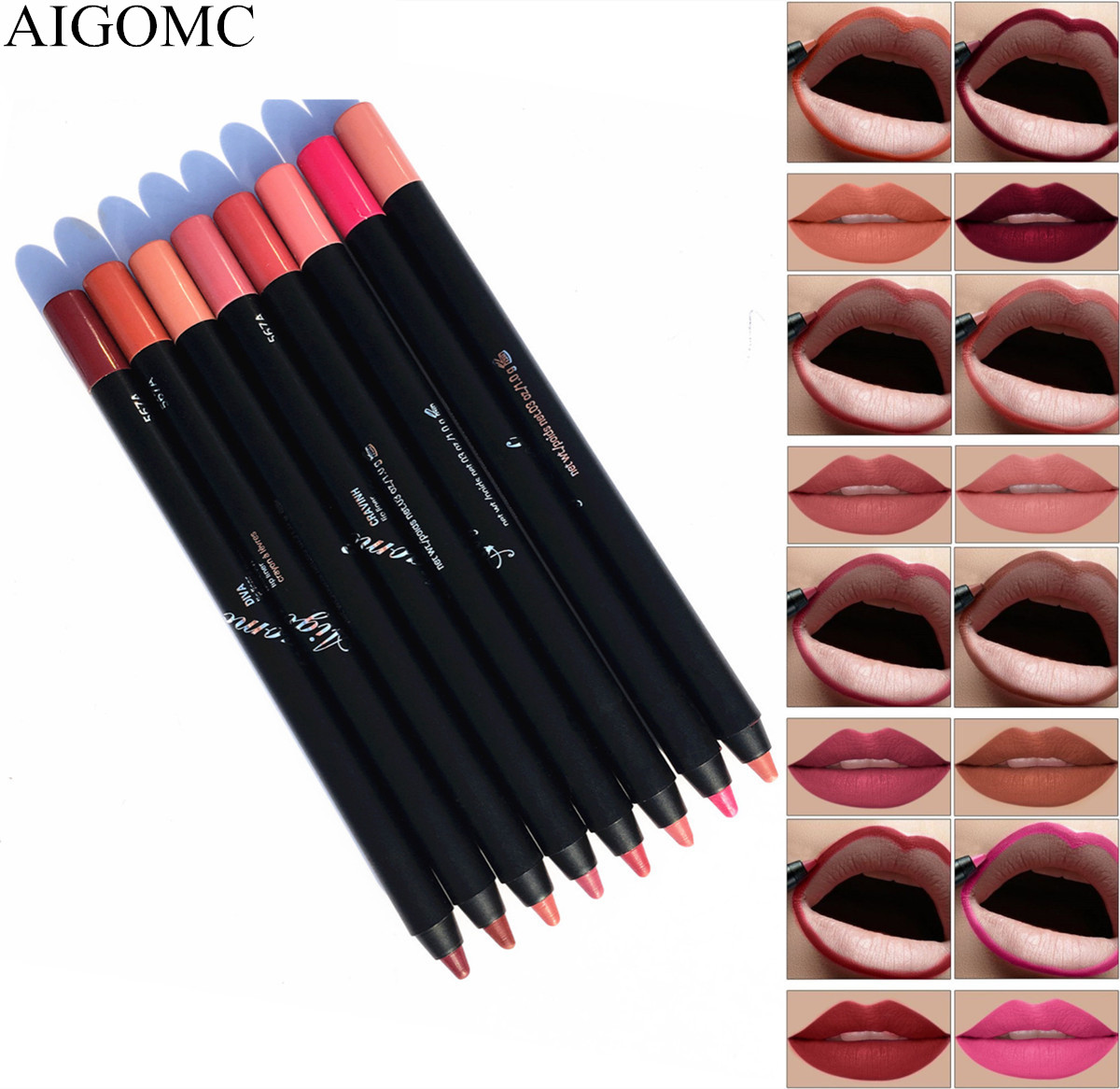 AIGOMC 8 Colors/Set waterproof lip liner pencil sexy full lipstick female long-lasting cosmetics beauty makeup