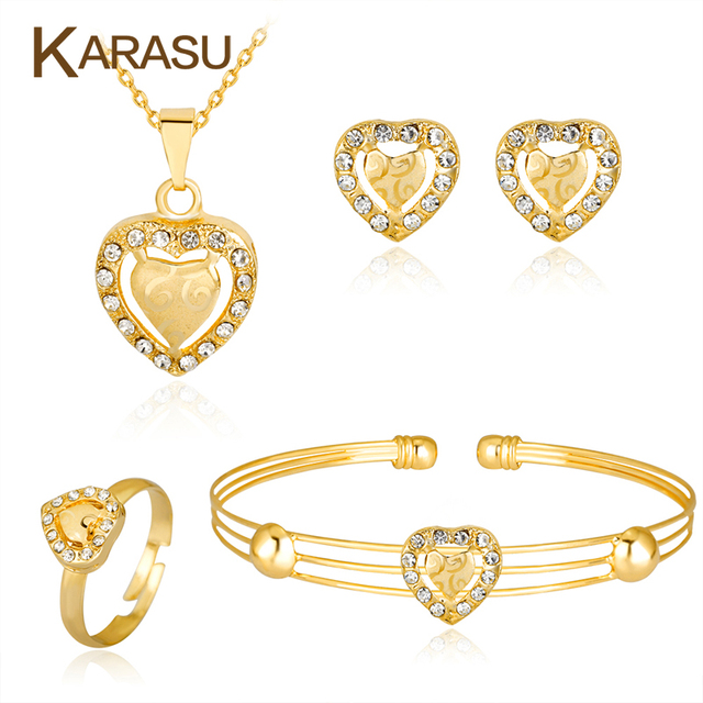KARASU Gold color Lovely Heart Pendant Necklace Earrings Ring