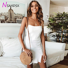 2019 New Arrival Polyester Solid Ukraine Summer Women Ladies Sexy Mini Slip Dress Sleeveless Bodycon Evening Party Sundress