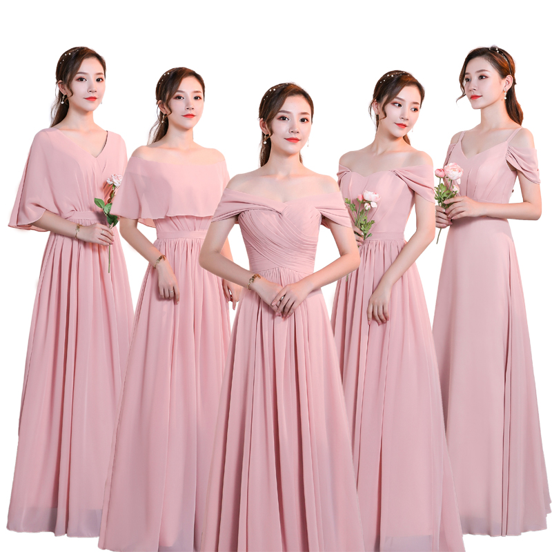 Beauty-Emily Chiffon Dark Pink Bridesmaid Dresses 2019 V-neck Lace A-line Wedding Party Gown Formal Dress  Robe De Soiree(China)