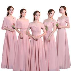 Красота-Эмили шифон темно-розовое платье подружки невесты 2019 v-образным вырезом кружева трапециевидной формы Свадебная вечеринка платье