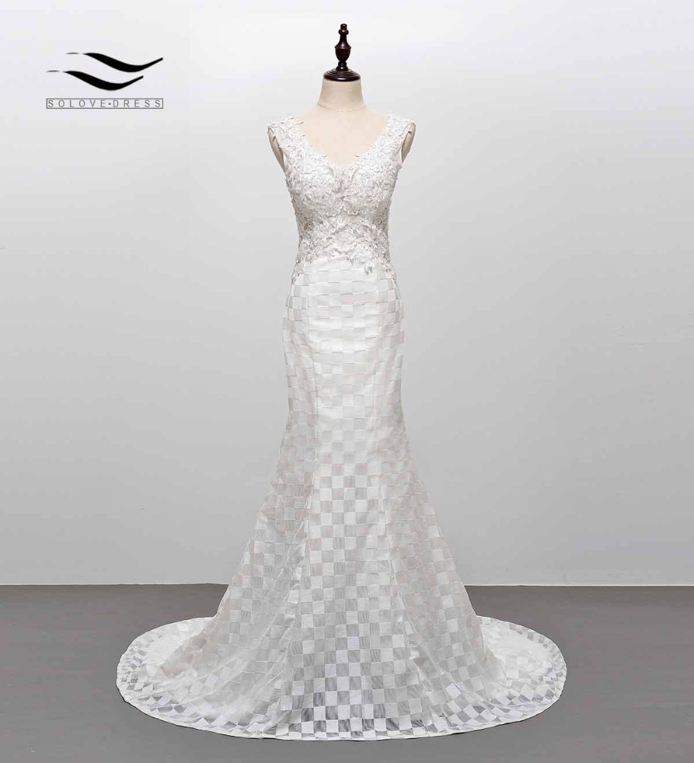 Elegant V Neck Appliques Sexy Lace Wedding Dress Long Train Patterned Mermaid Bridal Gown Backless with Lace up SLW103