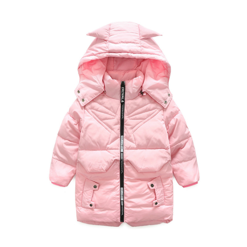 The Winter Wear New Boys and Girls Down In The Long Section of Warm Cap Thick White Down Jacket Coat цена