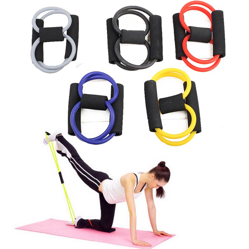 Resistance 8 Type Muscle Chest Expander Rope Workout Fitness Exercise Yoga Tube Sports Pulling Exerciser