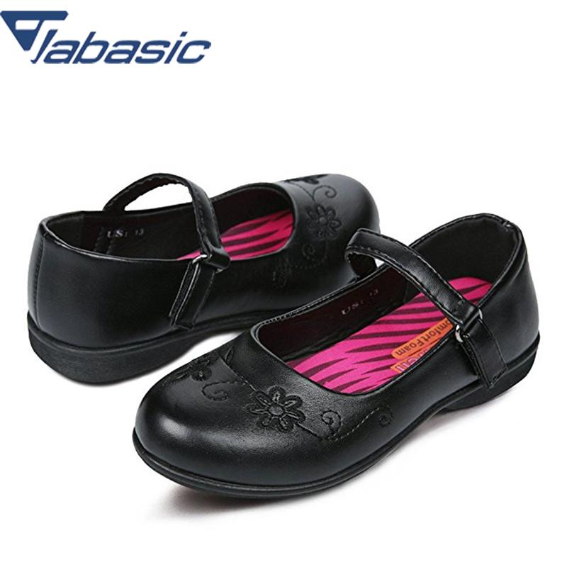JABASIC Girls School Shoes Flats Kid School Shoes Uniform PU Leather Buckle Strap Princess Party Shoes Black Mary Jane Footwear